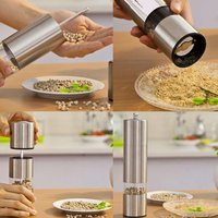 2 In 1 Stainless Steel Manual Salt Pepper Mill Grinder Seasoning Kitchen Tools Grinding for Cooking Restaurants Pepper Grinder