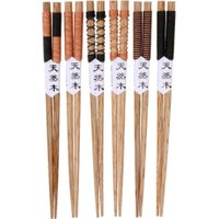6 Pair Home Use Japanese Natural Hand-made Wooden Chopsticks Set Value Pack Gift Cooking Tableware Durable High Quality